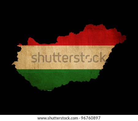 Map outline of Hungary with flag insert grunge effect