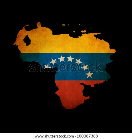 Map outline of Venezuela isolated on black with grunge effect flag insert - stock photo