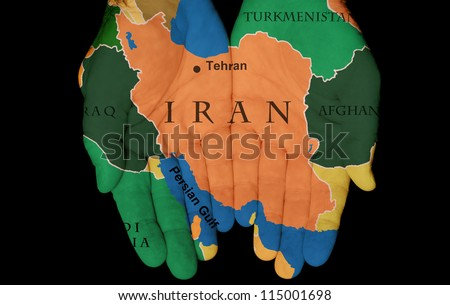 Map Painted On Hands Showing The Concept Of Having Iran In Our Hands