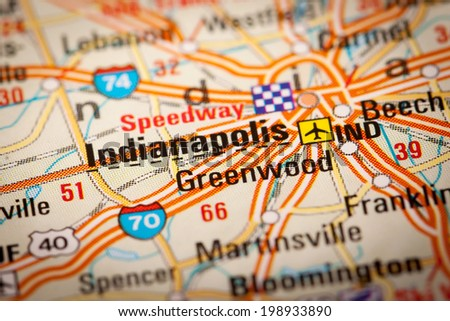 Map Photography: Indianapolis City on a Road Map - stock photo
