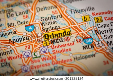 Map Photography: Orlando City on a Road Map - stock photo