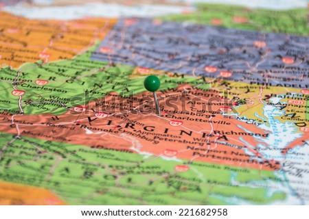 Map Pin in Charlottesville, Virginia  - stock photo