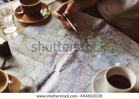 Map Planning Traveling Destination Vacation Concept - stock photo