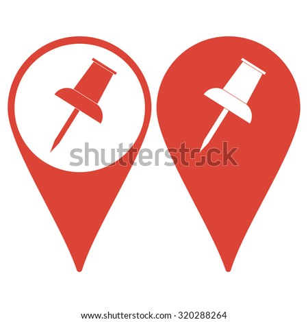 Map pointer. push pin icon. Flat design style  - stock photo