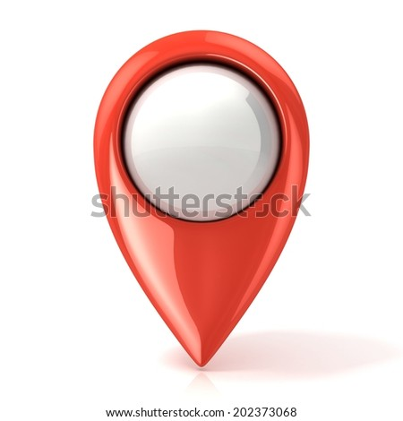 Map pointer. Red. Isolated on white - stock photo