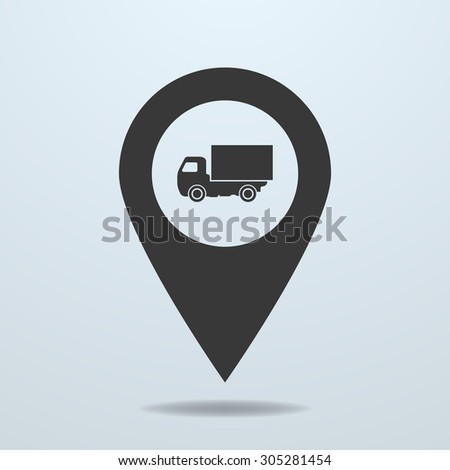 Map pointer with a truck symbol