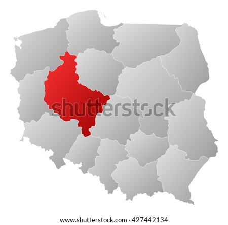 Map - Poland, Greater Poland - stock photo