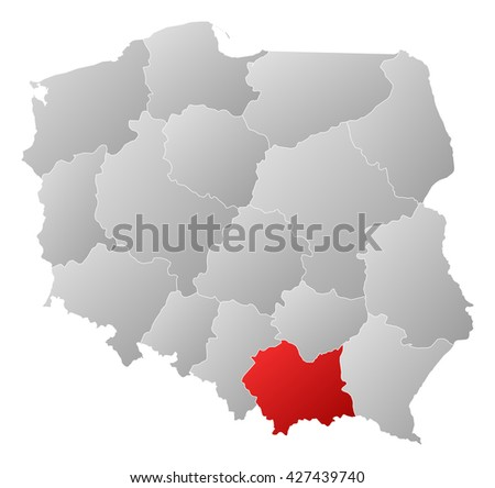 Map - Poland, Lesser Poland - stock photo