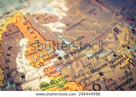 Map Russia and Finland .  Close-up macro image of Russian map . Selective focus on St.Peterburg - stock photo