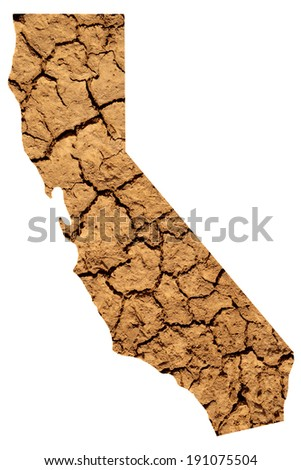 Map shape of California with dry parched earth representing drought conditions due to Climate Change also know as Global Warming. - stock photo