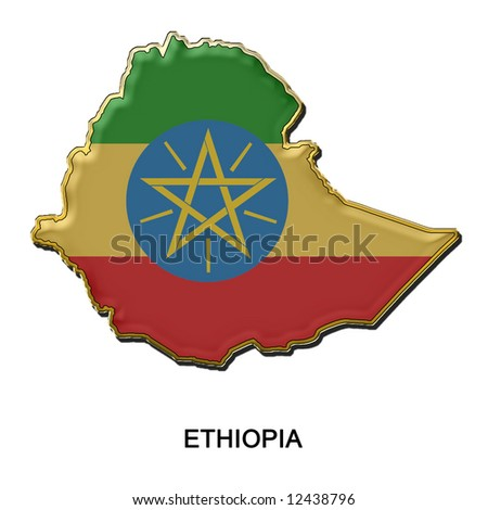 map shaped flag of Ethiopia in the style of a metal pin badge