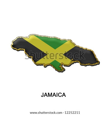 map shaped flag of Jamaica in the style of a metal pin badge