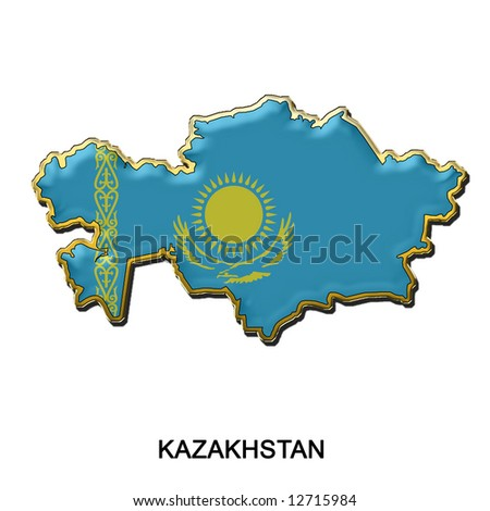 map shaped flag of Kazakhstan in the style of a metal pin badge - stock photo