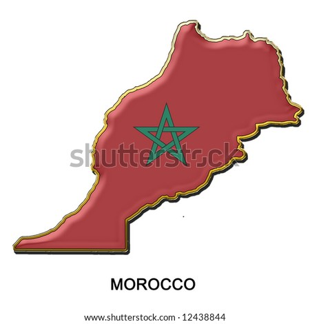map shaped flag of Morocco in the style of a metal pin badge