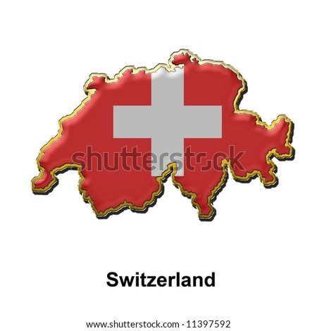 map shaped flag of Switzerland in the style of a metal pin badge