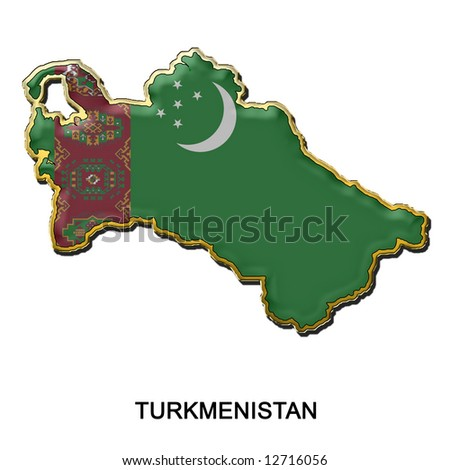 map shaped flag of Turkmenistan in the style of a metal pin badge
