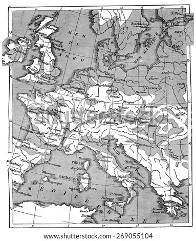 Map showing the extent of the area that was covered by the sea since the beginning of the Eocene period, vintage engraved illustration. Earth before man  1886. - stock photo