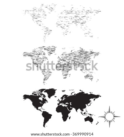 Map sketch - stock photo