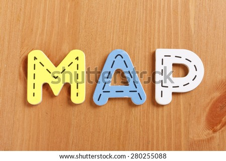 MAP, spell by woody puzzle letters with woody background
