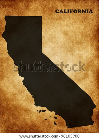 Map the State of California - stock photo