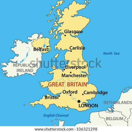 map - United Kingdom of Great Britain and Northern Ireland - stock photo