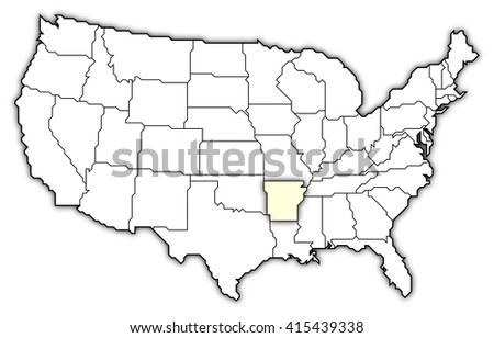 Relief Map Arkansas United States Drendering Stock Illustration - Arkansas us map