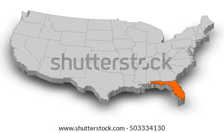 Map Florida United States Dillustration Stock Illustration - Us map with florida highlighted