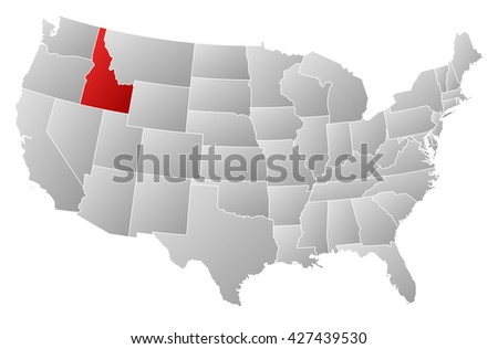 Map - United States, Idaho - stock photo
