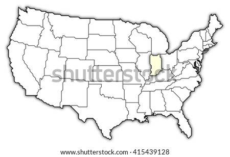 Map United States Indiana Dillustration Stock Vector - Us map indiana