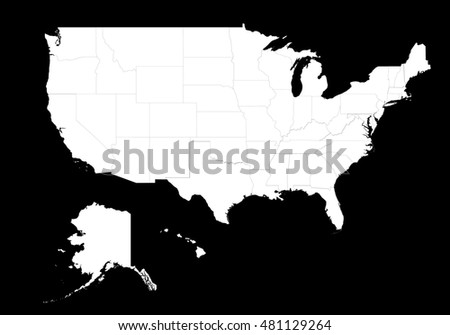 Map United States America Split Into Stock Vector - Map of united states states