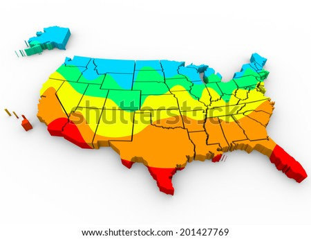 Map United States America Regions Color Stock Illustration 201427769