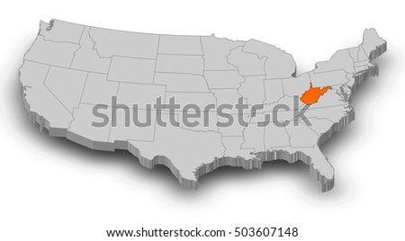 Wv Map Stock Images RoyaltyFree Images Vectors Shutterstock - West virginia on us map