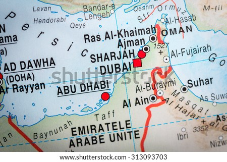 map view of abu dhabi and dubai vignette