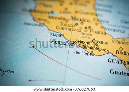 Map View Acapulco Mexico On Geographical Stock Photo Royalty Free