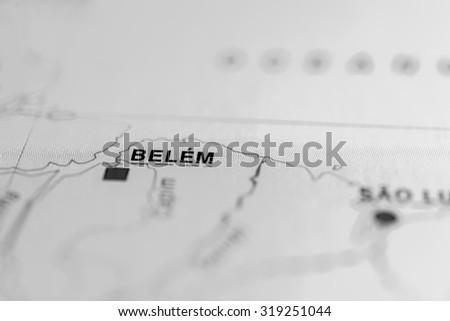 Map view of Belem, Brazil. - stock photo