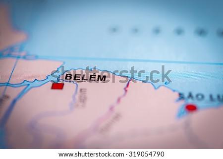 Map view of Belem, Brazil. (vignette) - stock photo