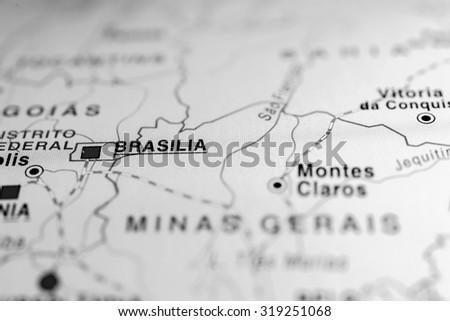 Map view of Brasilia, Brazil. - stock photo