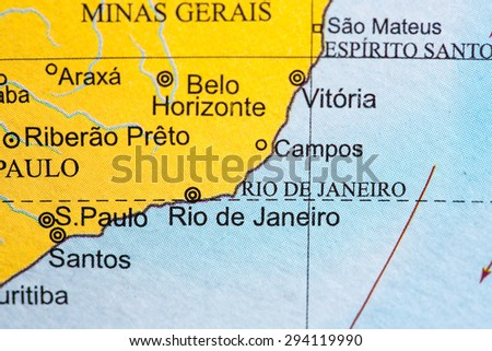 Map view of Brazil on a geographical globe. - stock photo