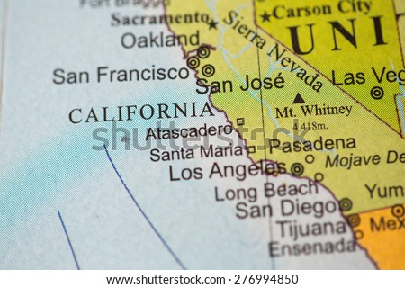 Map view of California on a geographical globe. - stock photo