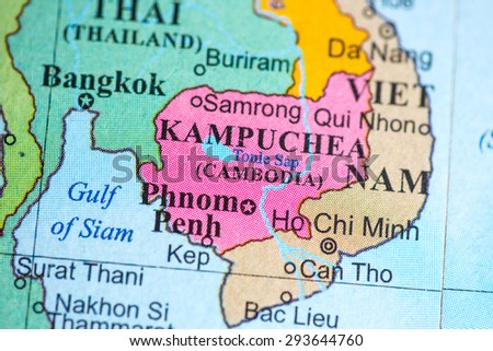 Map view of Cambodia on a geographical globe.