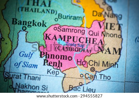 Map view of Cambodia on a geographical globe. (vignette)