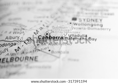 Map view of Canberra, Australia - stock photo