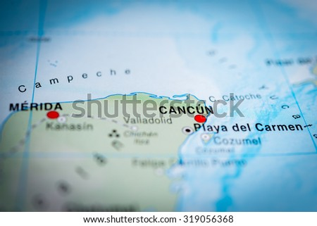 Map view of Cancun, Mexico. (vignette) - stock photo