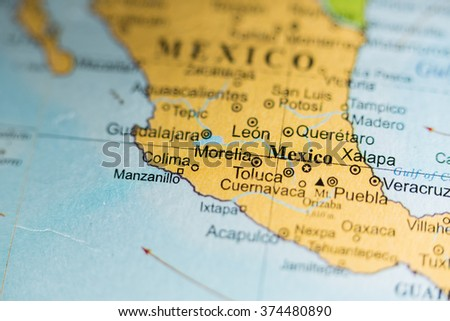 Map view of City of Mexico, Mexico on a geographical map of Cent - stock photo