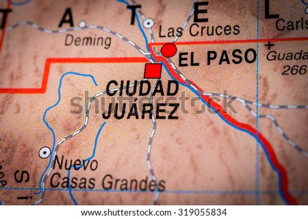Map view of Ciudad Juarez, Mexico. (vignette) - stock photo