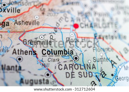 Map view of Columbia - stock photo