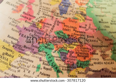 Map view of Europe on a geographical globe - stock photo