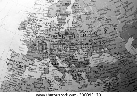 Map view of Europe on a geographical globe. (black and white) - stock photo