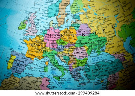 Map view of Europe on a geographical globe (vignette). - stock photo