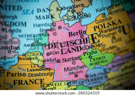 Map View Germany On Geographical Globe Stock Photo 280324319
